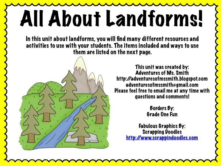 Landforms Mini Unit Landforms Included Mountain Canyon