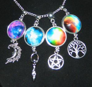 """Glass Cobochon Silver Chain Necklace 16"""" Pentagram Goddess Tree of Life Moon"""