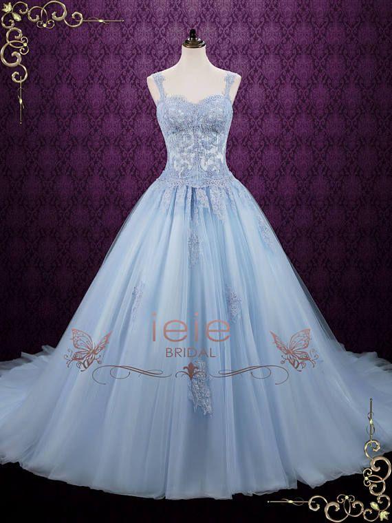 Blue Wedding Dress Cinderella Wedding Dress Princess Wedding Etsy Princess Ball Gowns Blue Wedding Dresses Ball Gown Wedding Dress