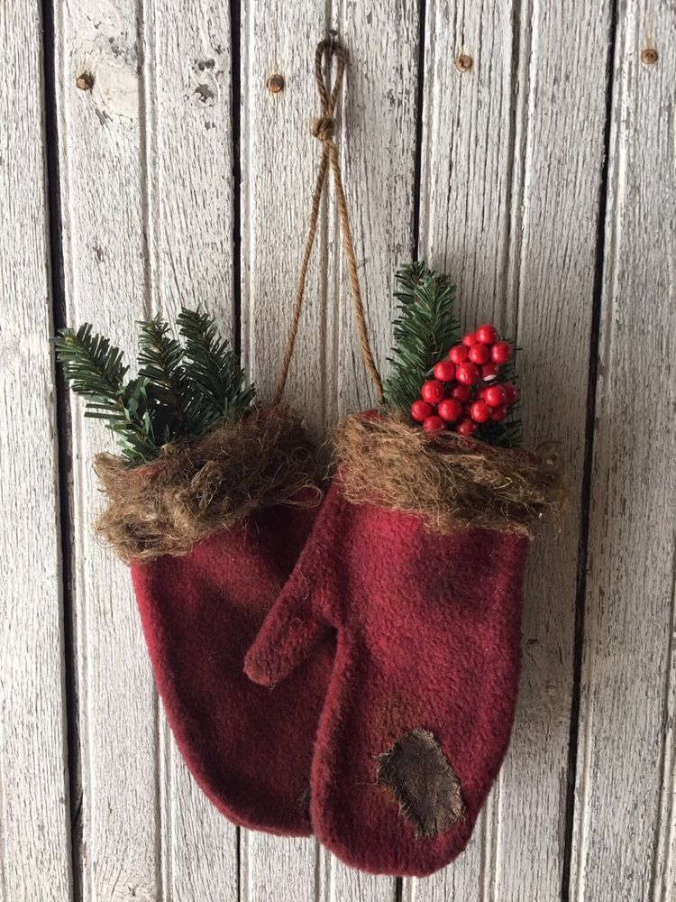 primitive burgundy christmas mitten ornaments winter decor farm house log cabin naiveprimitive - Primitive Christmas Decor