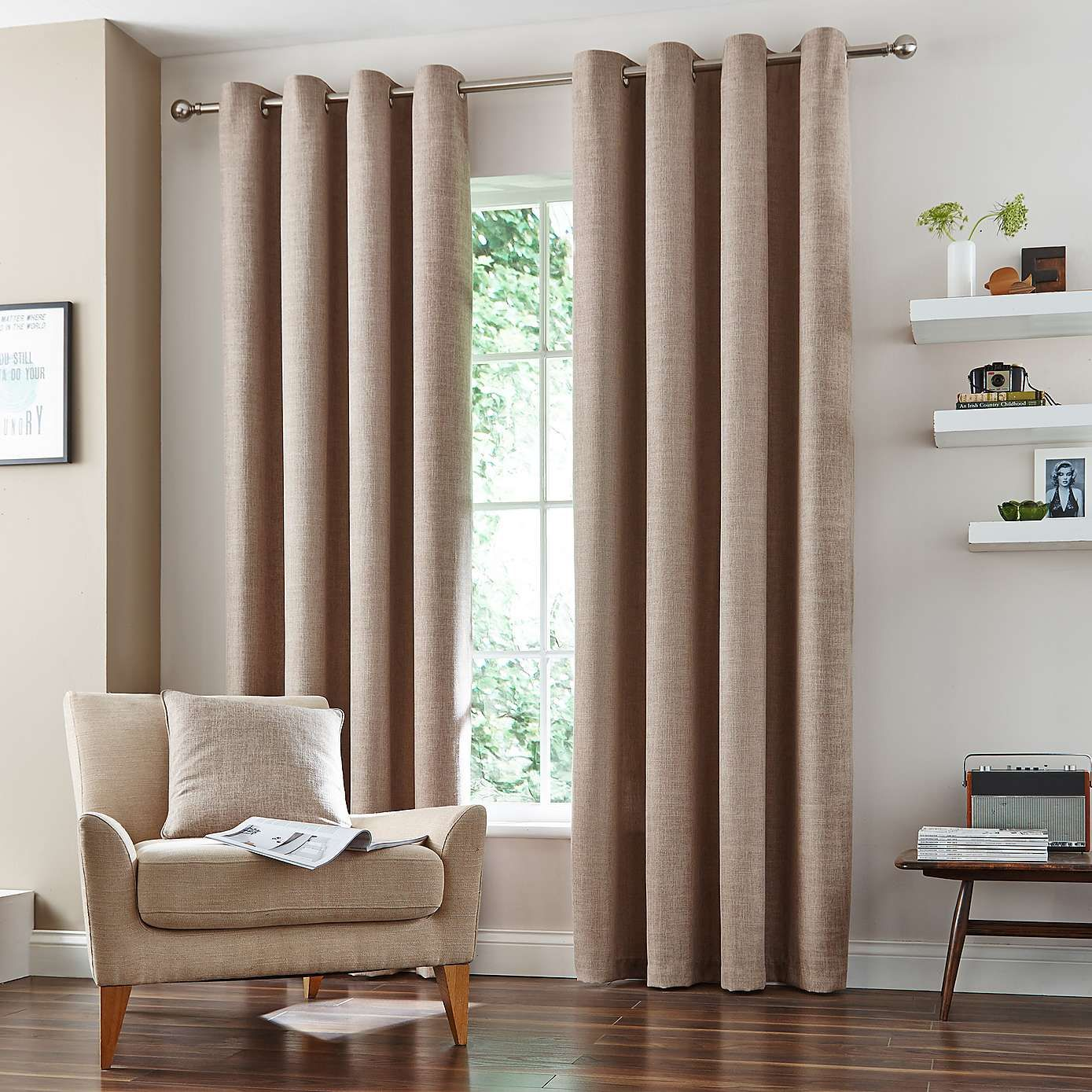 Natural Vermont Lined Eyelet Curtains Dunelm For The
