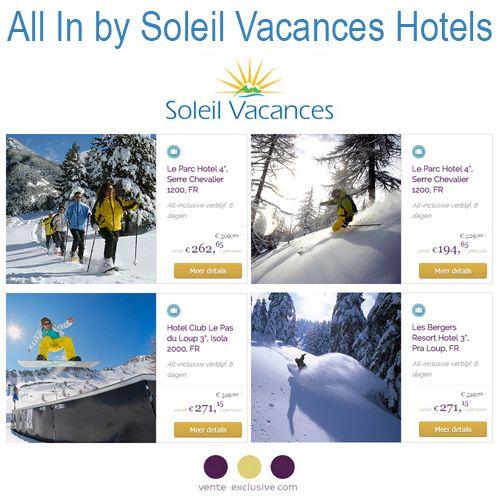 Nu bij Vente-Exclusive:All In by Soleil Vacances Hotels Wil je dit jaar nog op ski-vakantie? Profiteer dan nu van aantrekkelijke acties bij Vente Exclusive! Le Parc Hotel 4*, Serre Chevalie... #SoleilVacances #Skivakantie #Vakantie