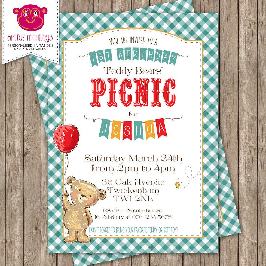 Printable Teddy Bears\' Picnic Invitation | Picnic invitations ...