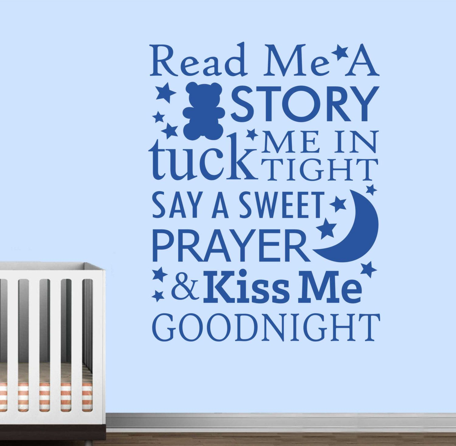 Read Story Kiss Goodnight Vinyl Wall Lettering Decals Letters Quotes Nursery Decal Kids Room