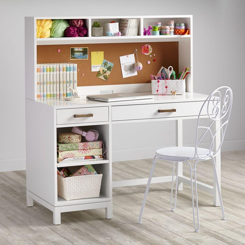 Cargo Desk & Hutch (White) - Kids Desks Kids Desks & Chairs: Kids White Classic Wooden Walden