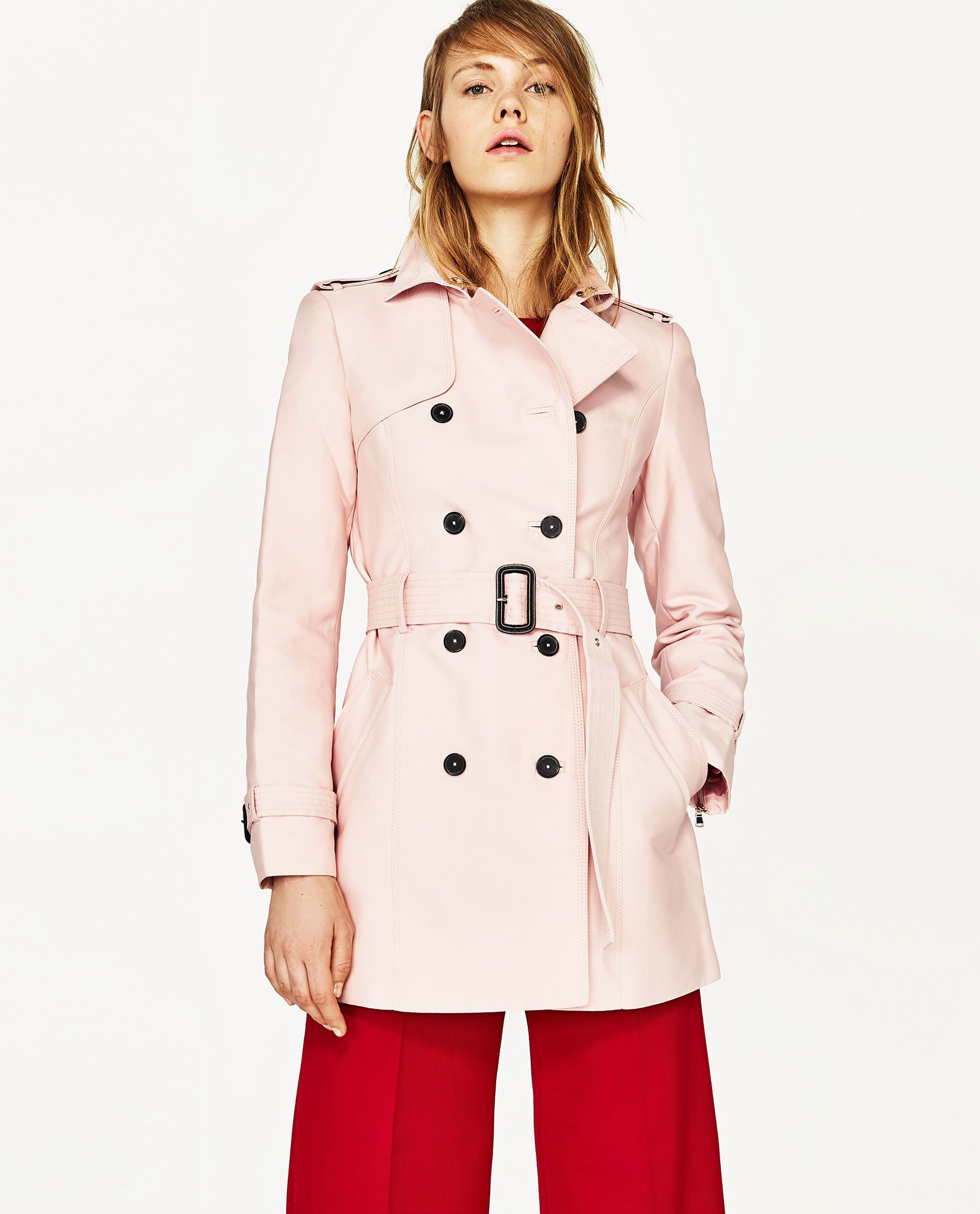 9cbc7c8699 ZARA  PASTEL PINK DOUBLE BREASTED TRENCH COAT