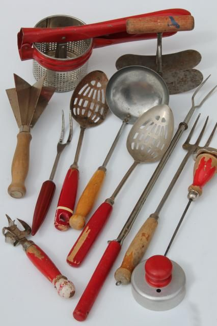 vintage kitchen utensils w red handles red painted wood handled spoons toast forks chopper on farmhouse kitchen utensils id=38152