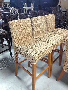 Bar Stools And High Table, Pottery Barn Woven Seagrass Barstool Brown Honey Chair Tall Bar Counter Stool Seagrass Bar Stools Scandinavian Dining Chairs Contemporary Dining Chairs
