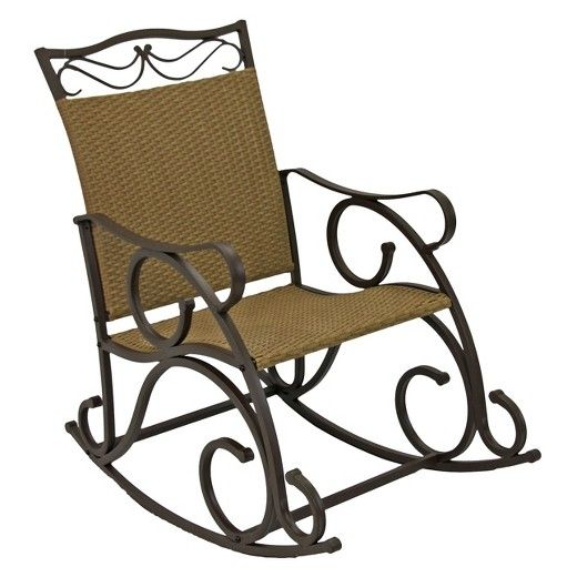 Strange International Caravan Valencia Wicker And Iron Patio Rocker Gmtry Best Dining Table And Chair Ideas Images Gmtryco
