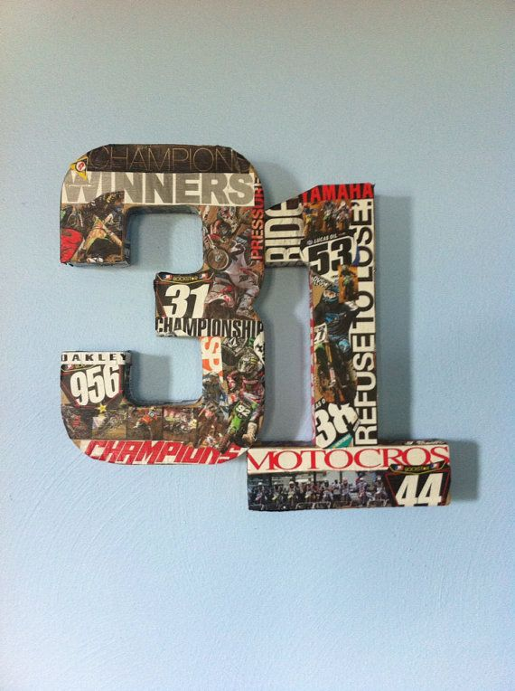 Dirtbike numbers/name wall decor | claytons room ...