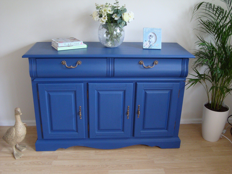Vintage Hand Painted Oak Veneer Sideboard   Blue painted ...