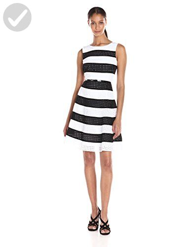 ecd603b11999d6 Calvin Klein Women s Eyelet Stripe Fit and Flare Dress with Belt AT Waist