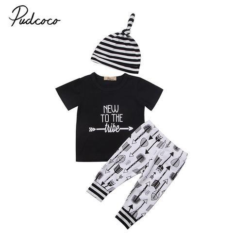 964af68f3b87 0-18M Casual Newborn Baby Boy Girl Clothing Set Short Sleeve Letter ...