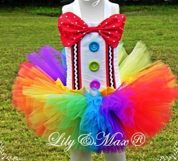ARCOBALENO Clown Juliette Bambini Costume Ragazza Vestito COLORATA Tütü circo CARNEVALE