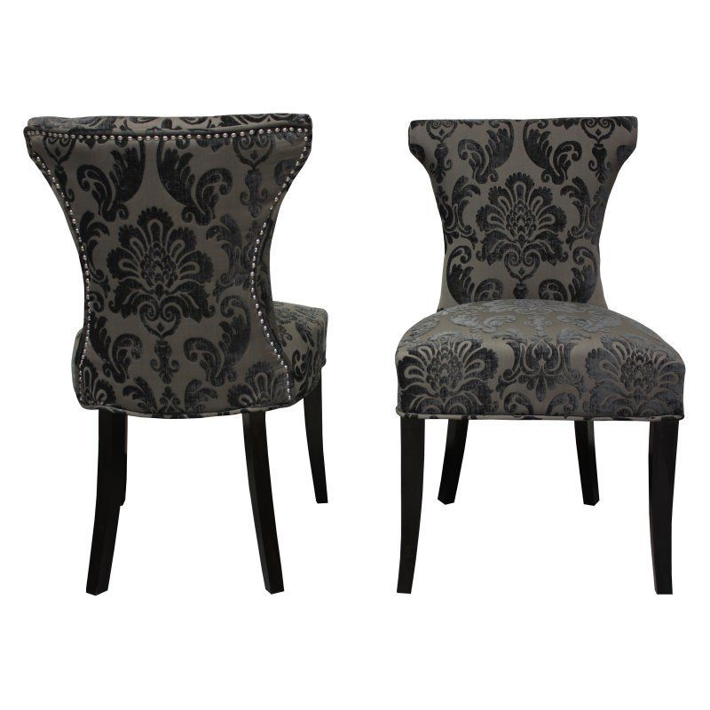 Hd Couture Cosmo Damask Side Chair Set Of 2 Mink Hd60018 Parsons Chairs Side Chairs Dining Chairs