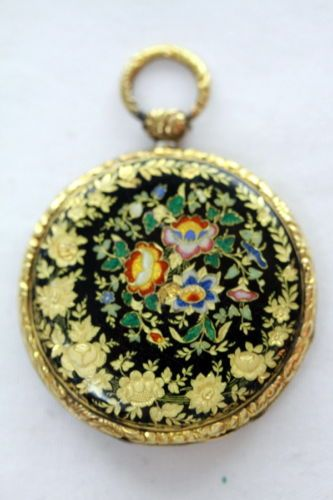 Antique-Gold-Enamel-Intricate-Case-Pocket-watch-Swiss-and-French