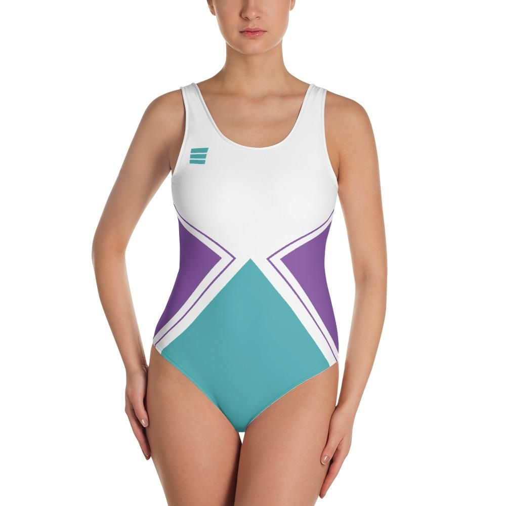 ee69671f160 Space Suite - One-Piece Swimsuit Bathing Suit Retro shapes Mid Century  Purple and Teal by Jess Kovic - sugarbunchcreative.com | @sugar_bunch on  Instagram
