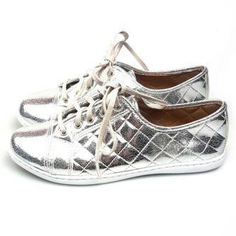 Tênis Love Shoes Flat Form Matelasse Prata