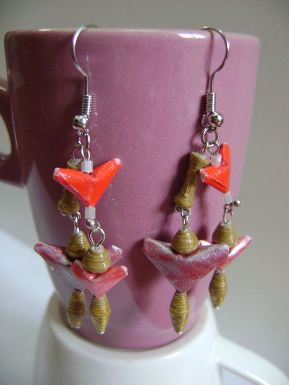 #Paper Bead Earrings Dangling Little #Angel by NightLightCrafts, $10.00 #handmade #jewelry