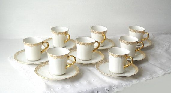 French Limoges Demitasse Cups Saucers, White, Gold, Antique, Set of 8