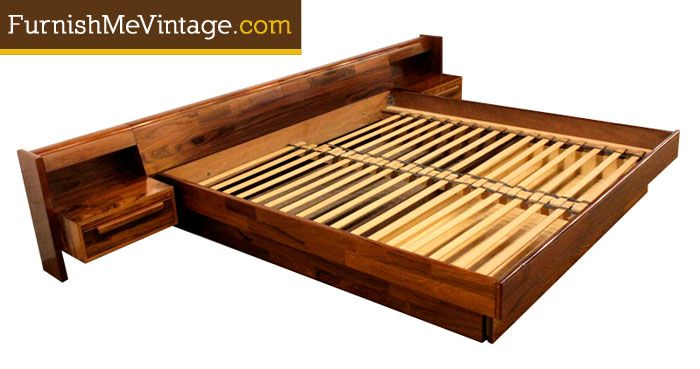 Best Vintage Belgian Rosewood King Size Platform Bed King 400 x 300