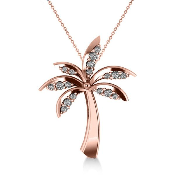 Allurez Diamond Summer Palm Tree Pendant Necklace 14k Rose Gold