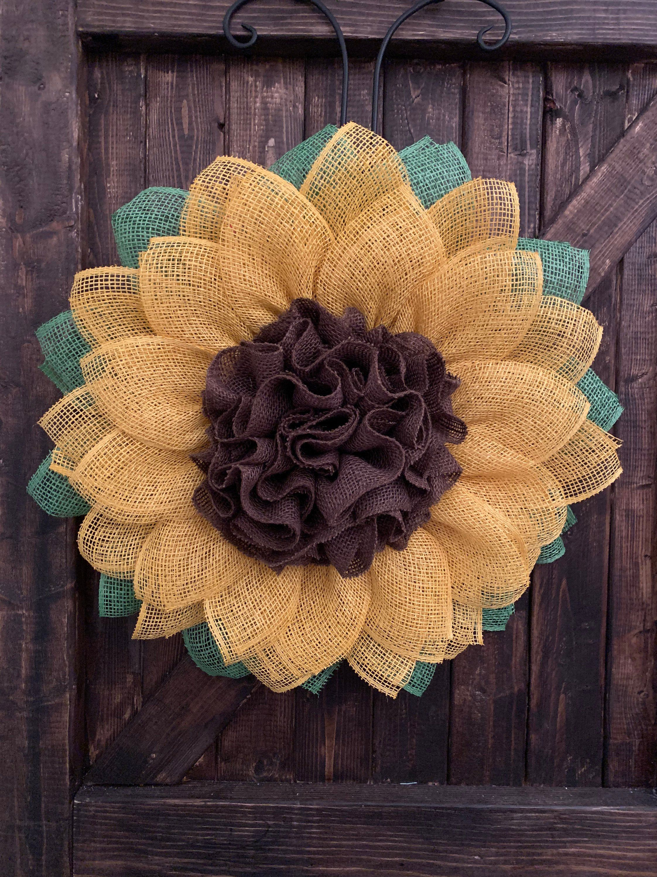 Photo of Sunflower Wreath, Sunflower Decor, Yellow Sunflower, Every day sunflower wreath, Summer Sunflower Wreath, Spring Sunflower Wreath