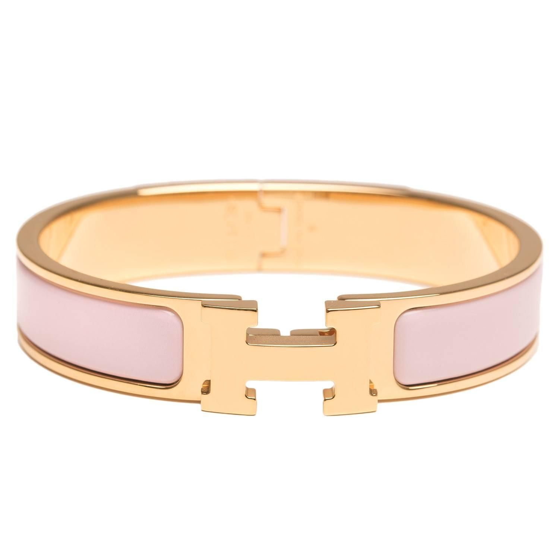 Hermes Rose Dragee Clic Clac H Narrow Enamel Bracelet Pm From A Unique Enamel Bracelet Hermes Bracelet Enamel Jewelry