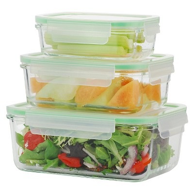 Kinetic Gogreen Glassworks 6 Piece Rectangular Oven Safe Glass Food Storage Container Set With Lid Green Clear Food Storage Containers Glass Food Storage Safe Glass
