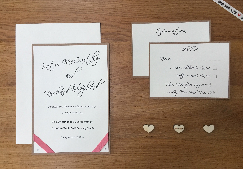 Handmade Rustic Wedding Invitation set with satin ribbon, gems and ...
