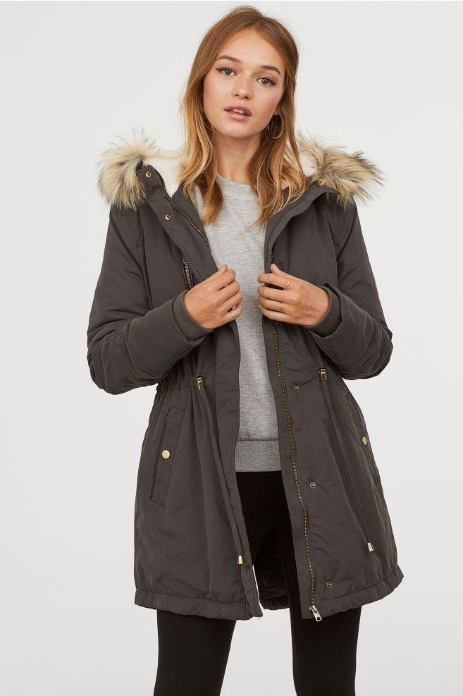 Padded Parka With Hood Dark Gray, H M Black Coat Fur Hood