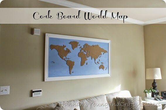 Young and crafty sisters diy framed cork board world map young and crafty sisters diy framed cork board world map gumiabroncs Image collections