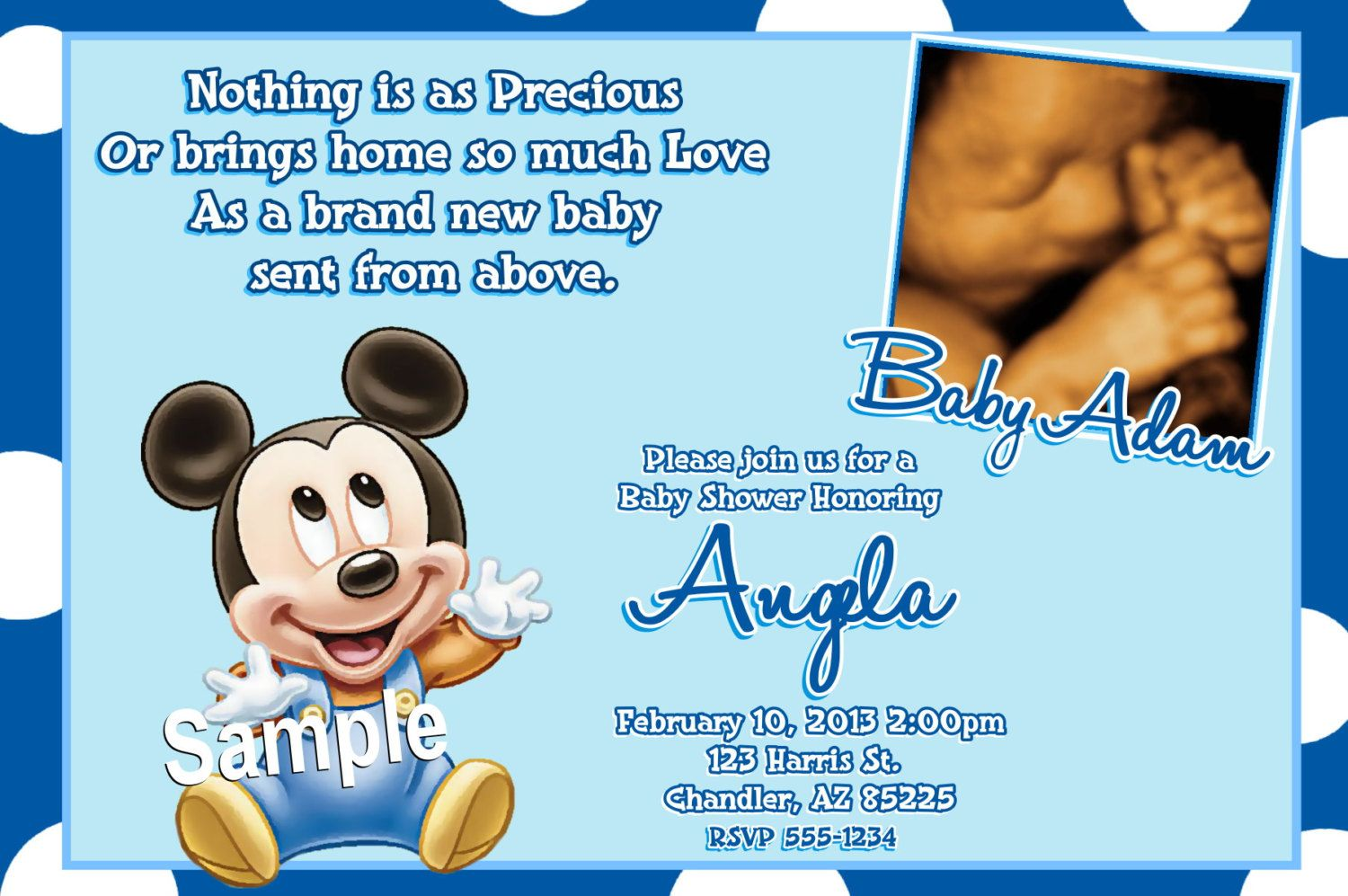 Free Printable Baby Mickey Mouse Baby Shower Invitations Rk