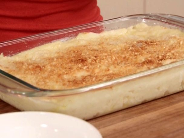 Baked Mashed Potatoes with Parmesan Cheese and Bread Crumbs - Delicious, and a great technique for boiling potatoes in less time and mashing them easier, by cutting the potatoe into cubes first! I loved this recipe