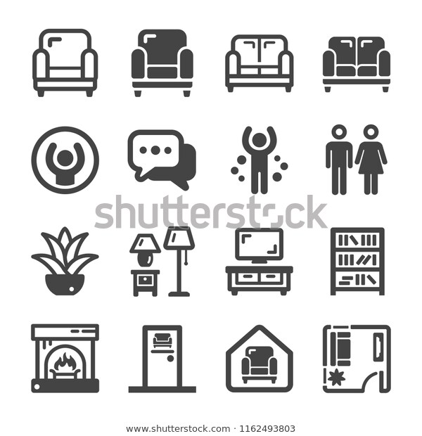 Living Room Icon Set Stock Vector Royalty Free 1162493803 Icon Set Icon Vector