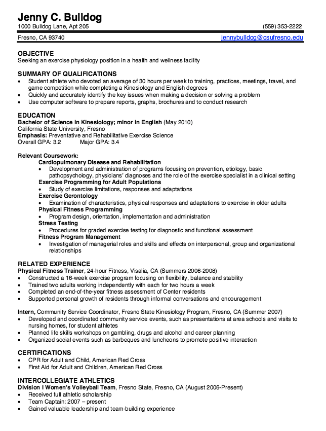 Kinesiology Graduate Resume Samples  HttpExampleresumecvOrg