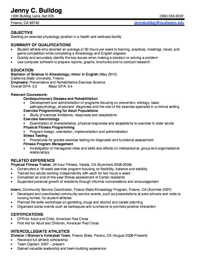 kinesiology education major resume examples