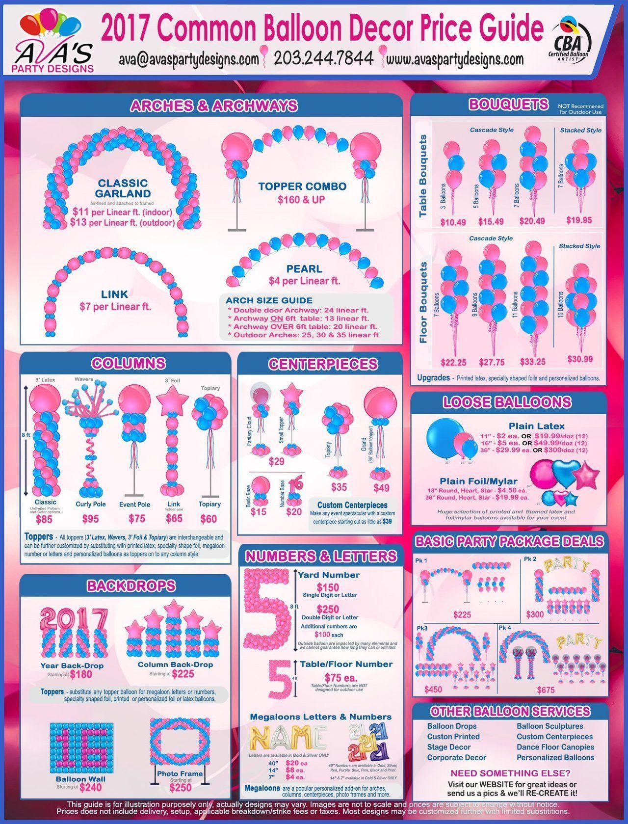 Balloon Decor Guide, Balloon Price Guide | Balloon ...