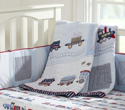 BLUE NEW Pottery Barn KIDS Ryder Train Crib Skirt /& Fitted Crib Sheet