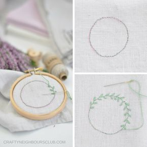 Photo of Fine leaf wreaths embroidered on linen – 10 minutes DIY   Mrs Greenhouse – DIY blog with creative DIY instructions