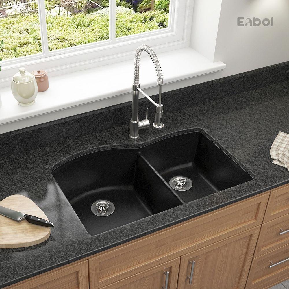 32 Extra Deep Double Bowl Undermount Kitchen Sink Granite
