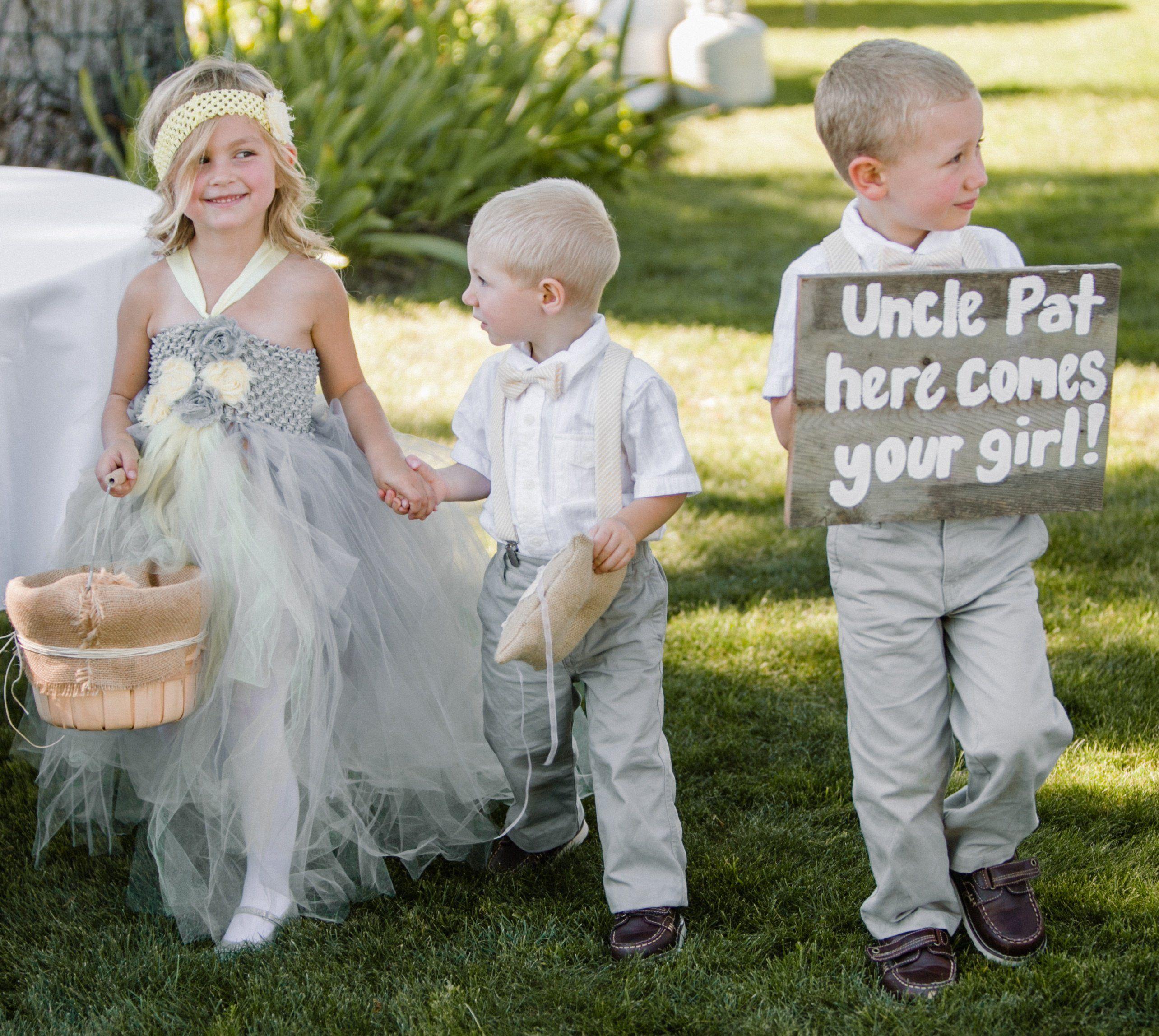 Rustic wedding flower girl dresses  Gray Flower Girl and Ring Bearer  wedding ideas  Pinterest  Grey