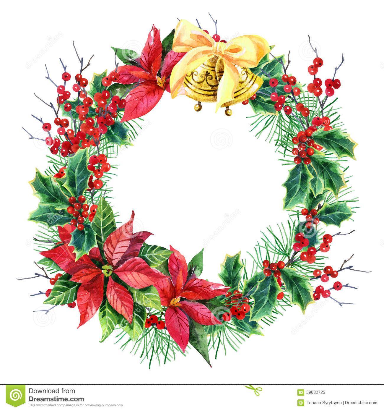 Watercolor Christmas Wreath Poinsettia Plant Pine Tree Branches Holly Plant Bells Hand Painted Illustration 59632725 Jpg 1300 1390 크리스마스 리스 리스 크리스마스
