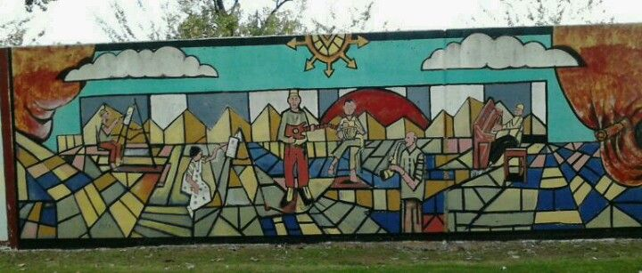 Outdoor wall panel mural along Riverfront Drive North Little Rock