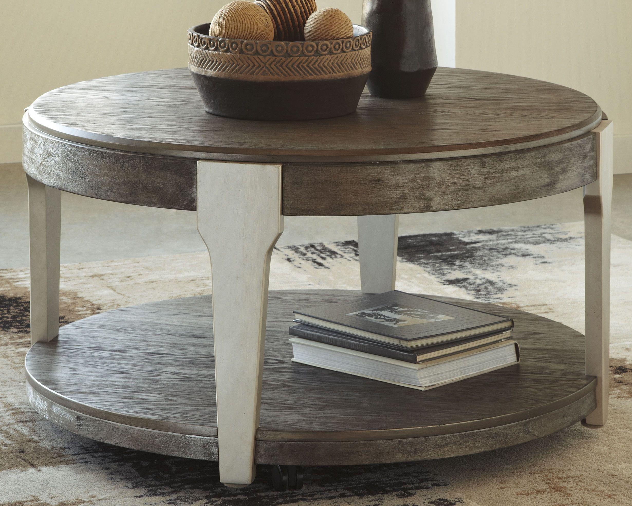 Brenzington Coffee Table Grayish Brown Silver Round Wood Coffee Table Round Coffee Table Coffee Table Wood [ 1969 x 2460 Pixel ]