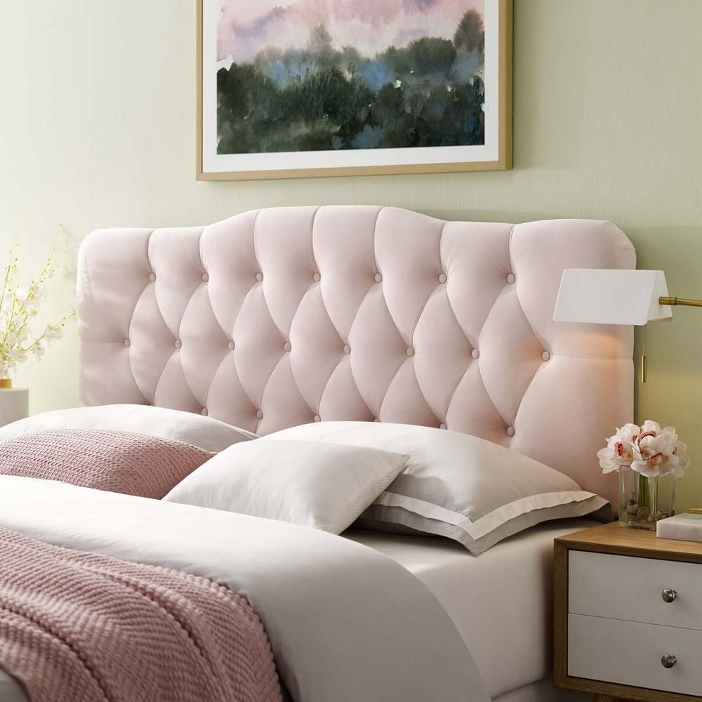 Modway Annabel Pink Twin Diamond Tufted Performance Velvet