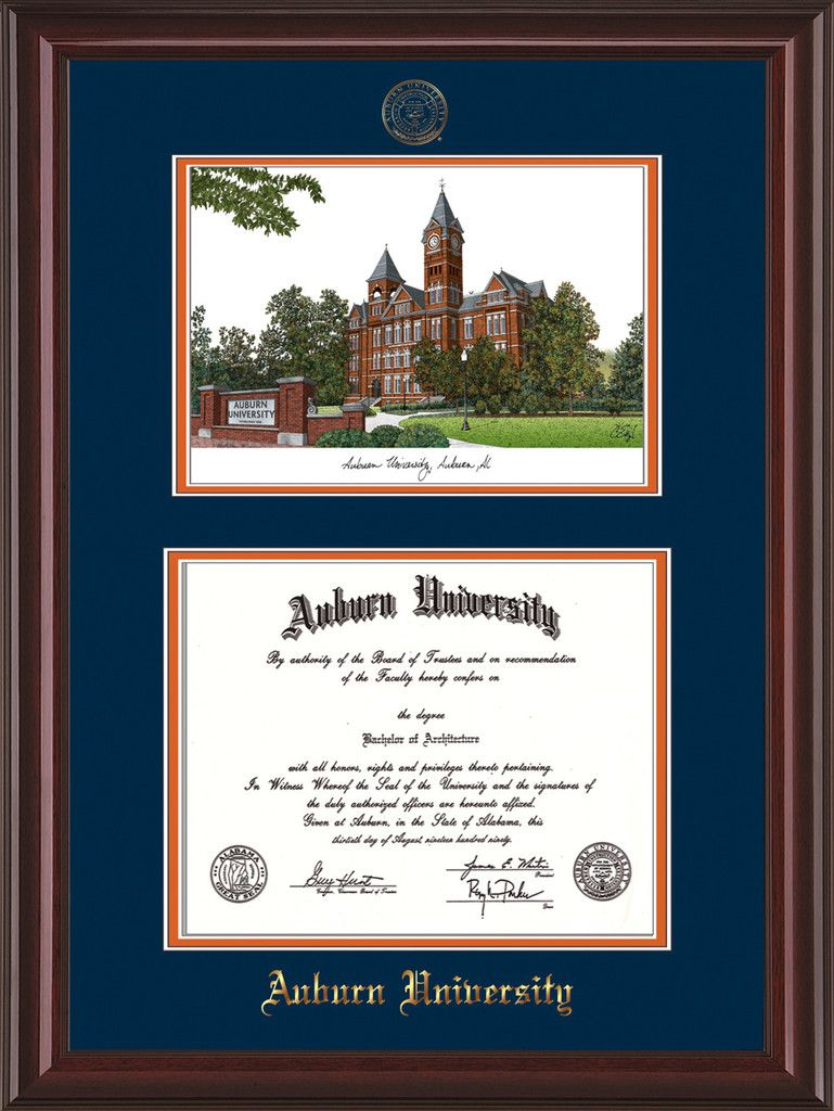 Auburn Univ. Diploma Frame - Mahog L- Seal & Watercolor - Navy/Orange – Professional Framing Company