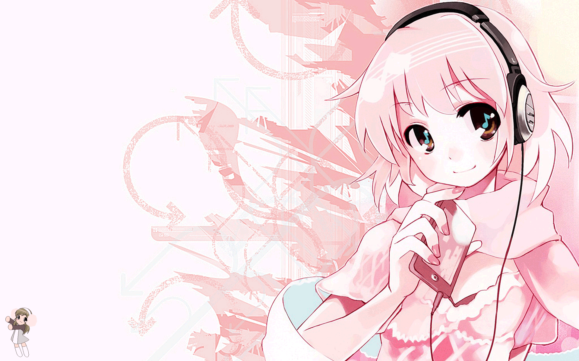 anime anime girls headphones wallpaper (381064