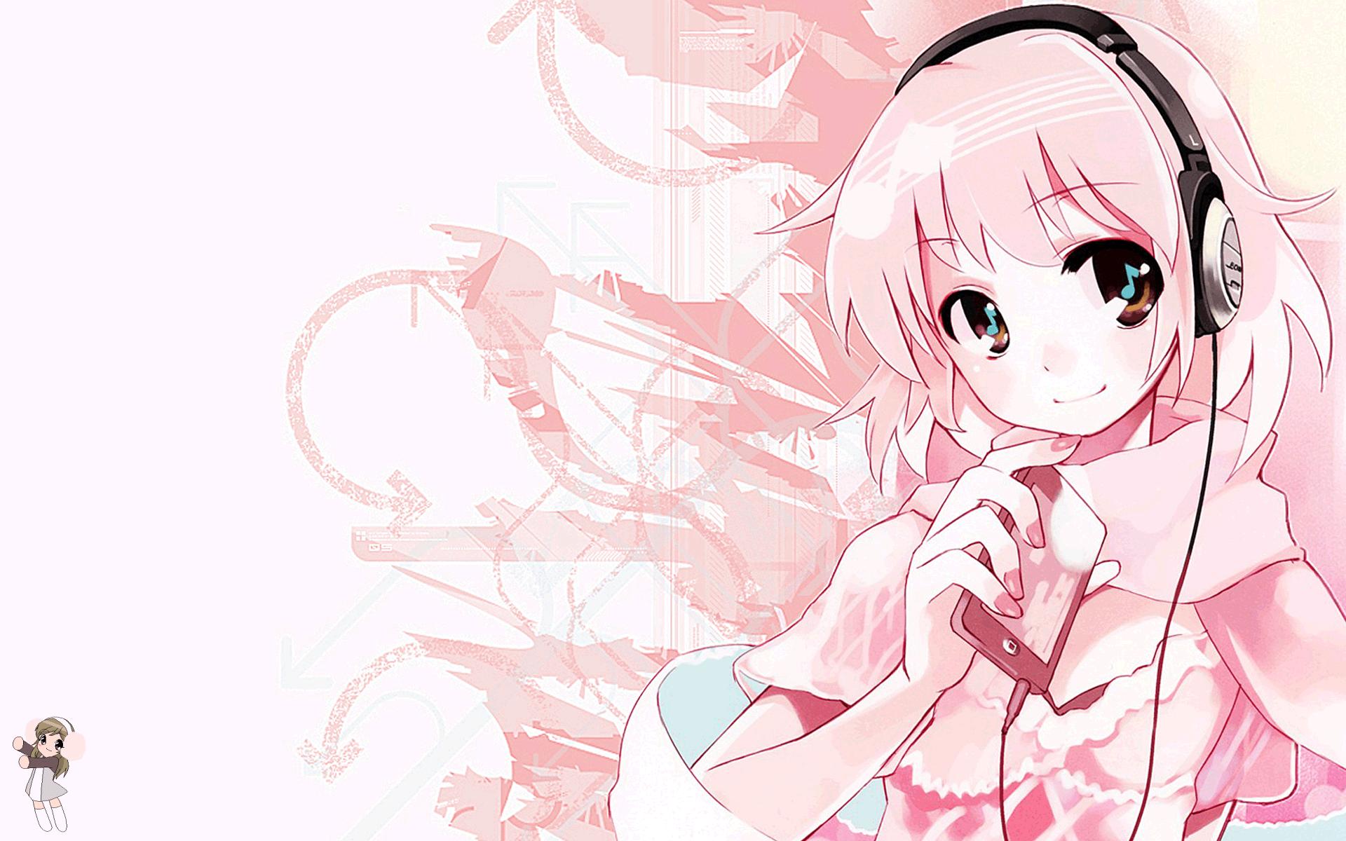 anime anime girls headphones wallpaper (381064