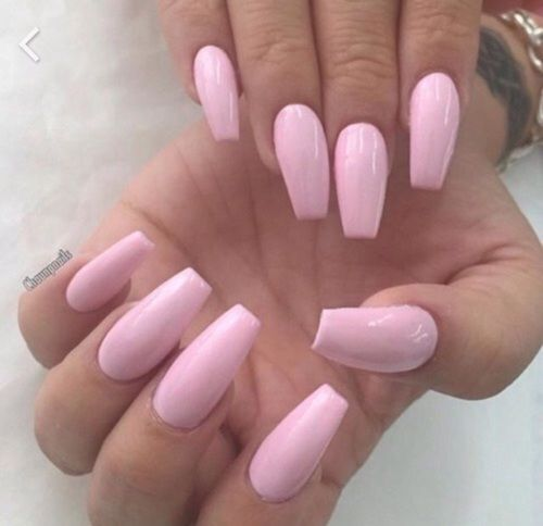 Beautiful Pink Coffin Nails Baby Pink Nails Pink Nails Trendy Nails